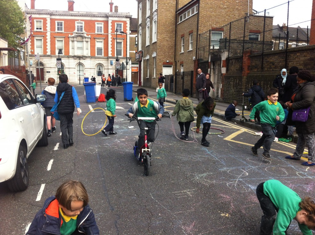Playing out in action outside a school