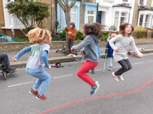 Skipping action in Winston Road's play street