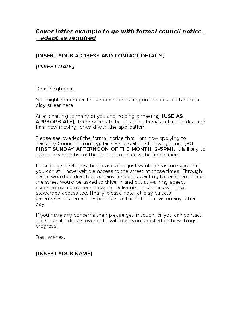 CoverLetterToFormalCouncilNotice  Hackney Play Association